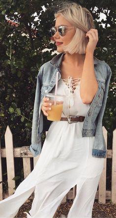 #fall #outfits ·  White Chiffon Dress + Denim Jacket