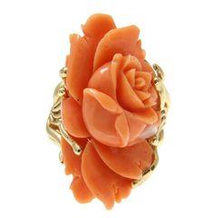 Natural Genuino Rosa Coral Tallado Anillo De La Flor ubicado en sólido 14k Oro Amarillo-