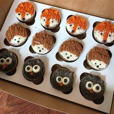 Woodland Creature Cupcakes for baby shower foxes, hedgehogs and owls! - Woodland Creature Cupcakes for baby shower foxes, hedgehogs and owls! Fete Laurent, Comida Para Baby Shower, Cupcakes For Boys, Baby Boy Cupcakes, Baby Shower Cupcakes For Girls, Ladybug Cupcakes, Kitty Cupcakes, Snowman Cupcakes, Princess Cupcakes