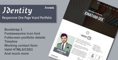 Identity - Responsive One Page Vcard Portfolio Joomla Template ⠀ Identity is a multipurpose, modern and well crafted one page portfolio for creative professionals. Anyone can showcase their personal resume, work history, education, projects and other personal in... ⠀ # #blogmagazine #cmsthemes #cmsbluetheme #cv #joomla #onepage #parallax #themeforest #timeline #vcard #personal #modern #responsive #fullscreen #portfolio #professional #resume #photography Portfolio Resume, Portfolio Site, Portfolio Professional, Professional Resume, Fashion Portfolio, Theme Template, Template Site, Joomla Templates, Keynote Template