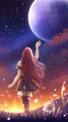 Search free anime Ringtones and Wallpapers on Zedge and personalize your phone to suit you. Cute Galaxy Wallpaper, Night Sky Wallpaper, Cute Girl Wallpaper, Anime Scenery Wallpaper, Nature Wallpaper, Mobile Wallpaper, Iphone Wallpaper, Beautiful Landscape Wallpaper, Beautiful Landscapes