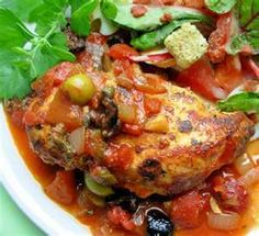 Chicken with tomatoes and olives - This dish is somewhat reminiscent of a Mediterranean chicken dinner I had at a restaurant once. Very delicious, easy to make, and enjoyed by our family. Spanish Chicken And Chorizo, Chicken With Olives, Chicken Chorizo, Italian Chicken, Olive Recipes, Paleo Recipes, Cooking Recipes, Cooking Pasta, Savoury Recipes