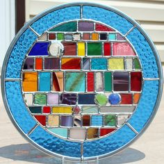 Multicolored+Round+Geometric+Stained+Glass+Panel+by+GoodGriefGlass,+$60.00