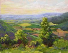 """SOLD! """"Overlook"""" is an 11""""x14"""" plein air pastel and unframed. I visited Monteagle TN and painted with a group. One day we visited the little town of Sewanee which is located on top of a mountain and has several fantastic overlook views! The view was located on a drive through the University of the South which is stunning."""