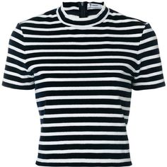 T By Alexander Wang horizontal stripe T-shirt (825 BRL) ❤ liked on Polyvore featuring tops, t-shirts, shirts, blue, short sleeve tops, tee-shirt, short sleeve tee, urban tees and tailored t shirts