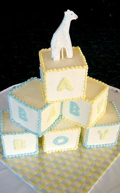 Six baby blocks to serve 54-60 guestsShown in butter cream finishColor and size can be customized  #baby #buttercream #alphabet #food