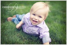 One year old boy laughing on the grass - NJ Children's Photographer