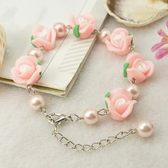 Pretty Bracelet, with Handmade Polymer Clay Flower Beads, Glass Pearl Beads and Alloy Lobster Claw Clasps, Pink