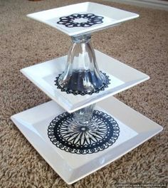 Tutorial: Three Tiered Serving Platter + Silhouette machine for black designs