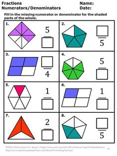 In this 45 page NO PREP common core math fractions activity packet, you will receive lots of fraction printables to help your graders master Common Core fraction skills! 3rd Grade Fractions, Teaching Fractions, Fractions Worksheets, Third Grade Math, Math Fractions, Teaching Math, Equivalent Fractions, Fraction Activities, Math Activities
