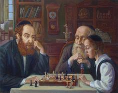 BRINDATCH Victor (1941 – ) Jews Playing Chess.
