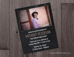 Chalkboard graduation invitation with photo small business card chalkboard style graduation party invitations with one horizontal photo double sided reheart Gallery