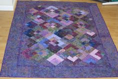 Log Cabin on Point Batik Lap Quilt by RatherBeeQuilting on Etsy