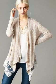Gracie Cardigan in Latte |Soft in Draping Layers, dreamy Knit Cardigan sweetened with Lace.:
