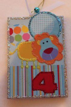 Gorgeous Lion Kid Wood Slice Ornament Children Birthday Gift Signed Lichtenstein