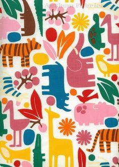 Alexander Henry Fabric - 2 D Zoo