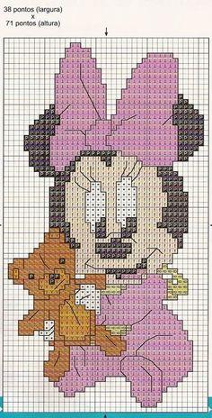 Minnie Mouse x-stitch Cross Stitch Disney, Cross Stitch For Kids, Cross Stitch Art, Cross Stitch Designs, Cross Stitching, Cross Stitch Embroidery, Cross Stitch Patterns, Animated Disney Characters, Crochet Disney