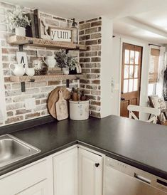 These Brick Backsplash Ideas Make the Case for a Rustic Kitchen Makeover Hunker farmhousekitchendecor Brick Kitchen Backsplash Ideas and Inspiration Hunker Farmhouse Kitchen Decor, Kitchen Redo, Kitchen Tops, 10x10 Kitchen, Kitchen Makeovers, Farm House Kitchen Ideas, Rustic Chic Kitchen, Farmhouse Kitchen Inspiration, Rustic Farmhouse