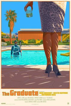 The Graduate Laurent Durieux Poster Screenprint Nautilus Art Mondo Limited The Graduate Movie, The Graduate 1967, Mike Nichols, Omg Posters, Cinema Posters, Graphic Posters, Film Poster Design, Movie Poster Art, Poster Wall