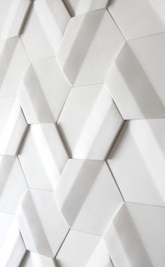 White tile module - by Pauline Gorelov Handmade tiles can be colour coordinated and customized re. shape, texture, pattern, etc. by ceramic design studios Wall Patterns, Textures Patterns, 3d Wall Panels, Concrete Tiles, White Tiles, White Marble, White White, Tile Design, Design Design