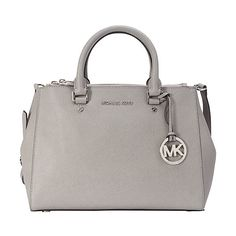 MICHAEL Michael Kors Sutton Medium Satchel ($245) ❤ liked on Polyvore featuring bags, handbags, designer handbags, grey, grey purse, medium satchel handbags, logo bags, grey handbags and grey bag