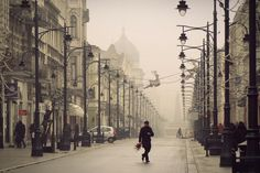 fog in the city - Łódź, Poland