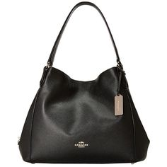 COACH Refined Pebble Leather Edie 31 Shoulder Bag (LI/Black) Shoulder... ($350) ❤ liked on Polyvore featuring bags, handbags, shoulder bags, slouch purse, military purses, coach shoulder bag, slouchy purses and strap purse