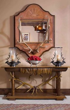 Cindy Rinfret: Western Ranch, antler mirror, side table, rustic decor