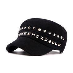 18f53be21a1 Fashion Punk Style Women s Hats Flat Baseball Cap Rivet Night Club Snapback  Hat Hip Hop Dad