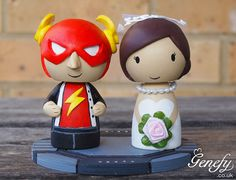 Cute Flash Superhero wedding cake topper by GenefyPlayground