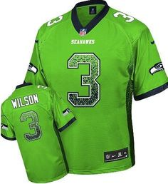 2013 NEW Nike Elite Seattle Seahawks #3 Russell Wilson Drift Fashion Green Jerseys