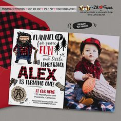 Doodly Lumberjack Birthday Party Printable Photo Invitations Photo Invitations, 1st Birthday Invitations, Printable Invitations, Lumberjack Party, First Birthday Parties, 2nd Birthday, 1st Birthdays, Birthday Ideas, Lumber Jack