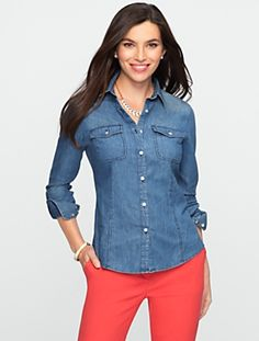This denim blouse is fabulous and so soft! I wear mine dressed up or very casually. Can't live without!