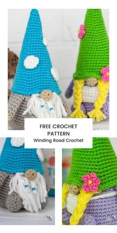 Crochet a cute amigurumi gnome with this free crochet pattern. Christmas Crochet Patterns, Holiday Crochet, Crochet Patterns Amigurumi, Crochet Ornaments, Crochet Snowflakes, Crochet Wool, Quick Crochet, Free Crochet, Crochet Hats