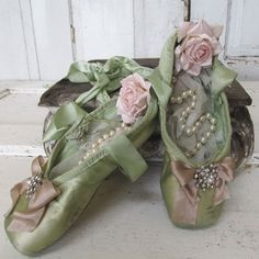Ballet pointe shoes faded muted decorated green shabby cottage chic dance slippers embellished pink rose rhinestones anita spero design