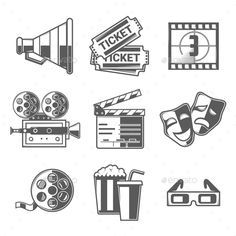9 Cinema Icons by Snitovets Cinema Icons Set (Megaphone, Tickets, Countdown, Cam. - Cinema - Movies and Stine Und Stitch, Kamera Tattoos, Body Art Tattoos, Tatoos, Film Logo, Film Strip, Creative Icon, Pictogram, Illustration