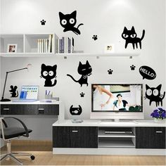 Cartoon black cat cute DIY Vinyl Wall Stickers For Kids Rooms Home Dec – Hespirides Gifts