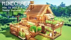 Minecraft House Plans, Minecraft Cottage, Minecraft Houses Survival, Easy Minecraft Houses, Minecraft House Tutorials, Minecraft House Designs, Minecraft Tutorial, Minecraft Blueprints, Minecraft Creations