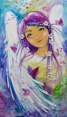 Angel art by Viola Sado I Believe In Angels, Angel Guidance, Art Manga, Angels Among Us, Angel Pictures, Angel Cards, Guardian Angels, Arte Popular, Mixed Media Art