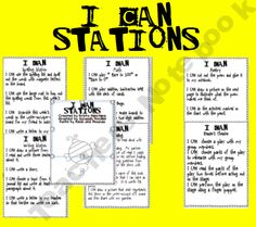 I CAN Station Posters for Math, Reading, Writing, Poetry, Spelling, and Reader's Theater