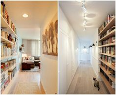 long corridor decorate wall shelving books library