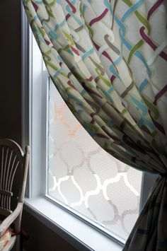 A Window Treatment-this frosting on the glass would look good on the bathroom window for privacy.