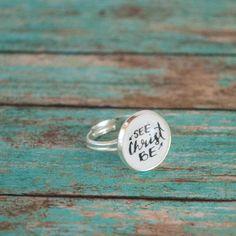 Pink Salt Riot // Be Christ See Christ Silver Adjustable Ring