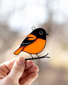 This item is unavailable - Stained glass bird suncatcher Baltimore oriole feeder decor grandma gift Stained glass window hangi - Custom Stained Glass, Stained Glass Birds, Stained Glass Suncatchers, Stained Glass Designs, Stained Glass Projects, Stained Glass Patterns, Stained Glass Windows, Stained Glass Cookies, Mosaic Glass