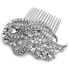 USABride Stunning Bridal Comb Antique SilverTone Rhinestone Crystal Hair Accessory 2229 * Visit the image link more details.