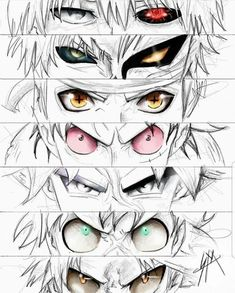 anime heroes Tokyo ghoul Bleach Naruto One piece Dragon ball Boku no Anime Sexy, All Anime, Otaku Anime, Anime Naruto, Manga Anime, Naruto Eyes, Manga Eyes, Draw Eyes, Anime Crossover
