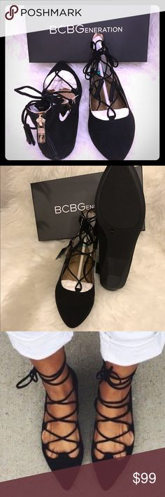 """BCBG Lace Up Black Microsuede - NEW Brand New authentic black micro suede BCBG beautiful pointed toe lace up flats with gold zipper!  Size 7. Comes with BCBG box, etc (if I can fit it in the postage box that is!). SO classy and elegant!    Beautiful designer shoes for any occasion  About an 1/2"""" - 1"""" wedge style heel. Stunning! BCBG Shoes Flats & Loafers"""
