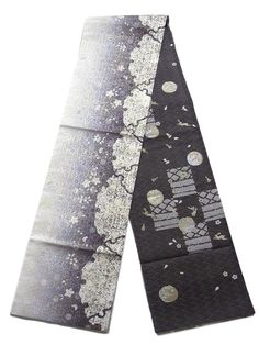 This is a fashionable 'Zentsu'(fully patterned) Fukuro obi with large 'Yukiwa' (snow crystals), seasonal flowers and classical pattern, which is woven