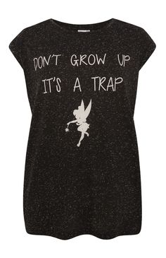 Primark - Black Tinkerbell Don't Grow T-Shirt