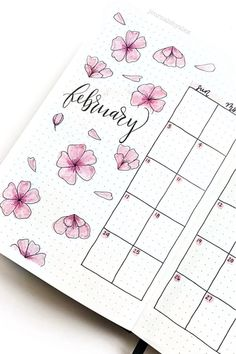 Whether you want to change the look of your bujo or just add some cute decoration to a single spread, these adorable cherry blossom themed bullet journal ideas will give you the inspiration you need! Bullet Journal School, Bullet Journal Inspo, February Bullet Journal, Bullet Journal Lettering Ideas, Bullet Journal Banner, Bullet Journal Notebook, Bullet Journal Aesthetic, Bullet Journal Spread, Cherry Blossom Theme